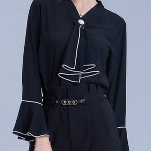 Shift Chiffon Tie-Neck Bell Sleeve Solid Blouse